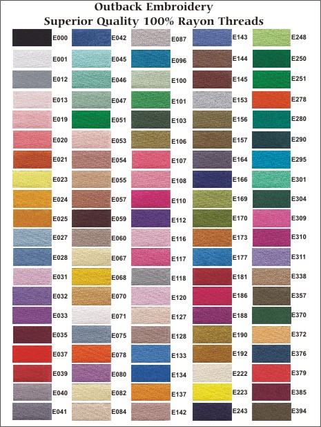 Outback Colour Chart